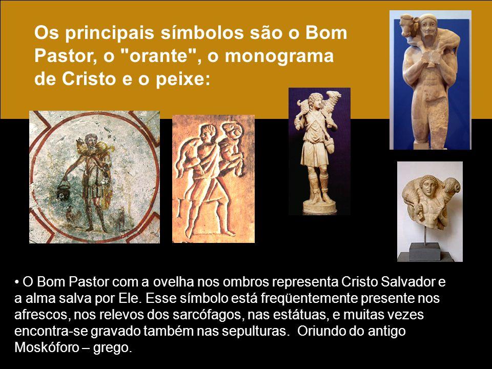 O Bom Pastor com a ovelha nos ombros representa Cristo Salvador e a alma salva por Ele. Esse símbolo está freqüentemente presente nos afrescos, nos re