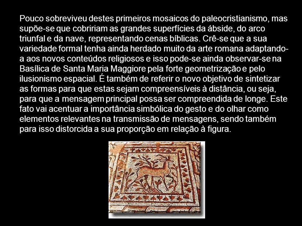 Pouco sobreviveu destes primeiros mosaicos do paleocristianismo, mas supõe-se que cobririam as grandes superfícies da ábside, do arco triunfal e da na