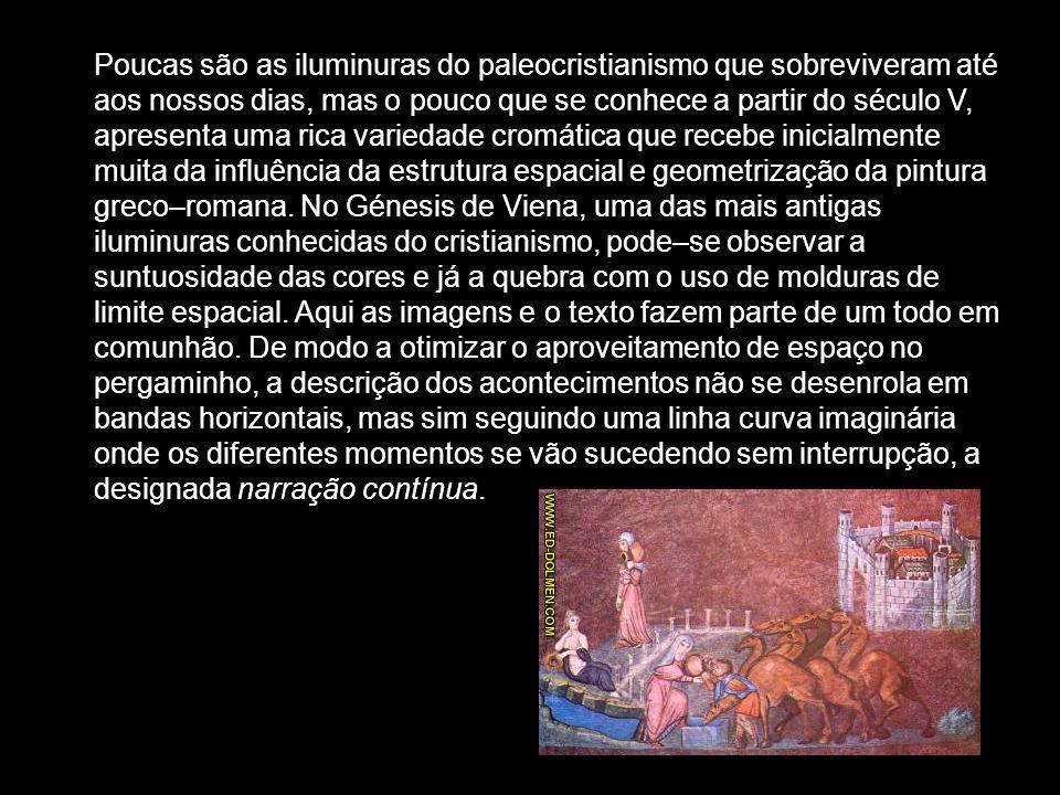 Poucas são as iluminuras do paleocristianismo que sobreviveram até aos nossos dias, mas o pouco que se conhece a partir do século V, apresenta uma ric