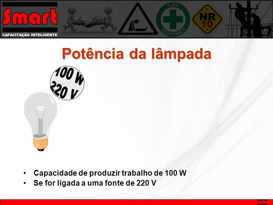 CAPACITAÇÃO INTELIGENTE Potência da lâmpada Capacidade de produzir trabalho de 100 W Se for ligada a uma fonte de 220 V