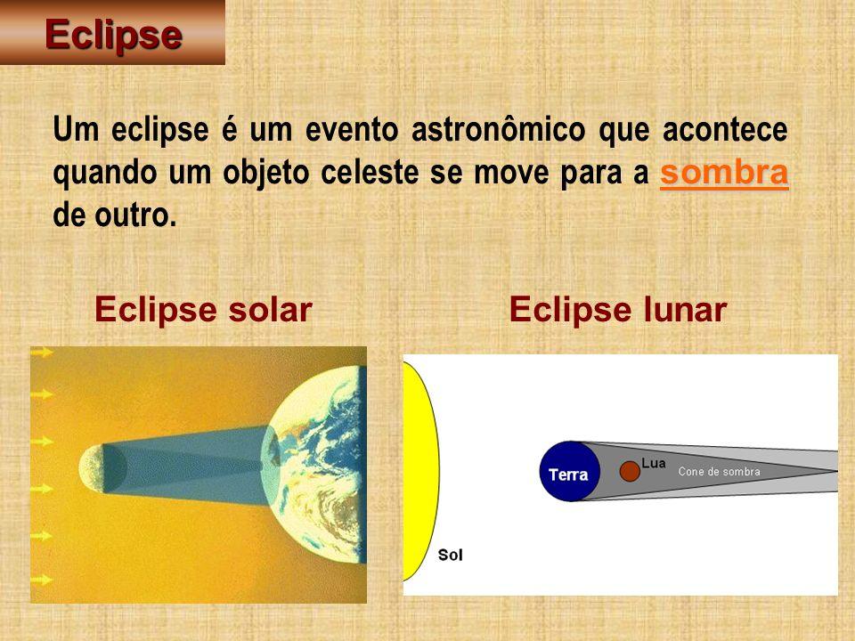 Eclipse sombra Um eclipse é um evento astronômico que acontece quando um objeto celeste se move para a sombra de outro. Eclipse solarEclipse lunar