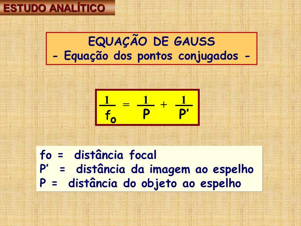 EQUAÇÃO DE GAUSS - Equação dos pontos conjugados - 1 = 1 1 f P P o =+ fo = distância focal P = distância da imagem ao espelho P = distância do objeto