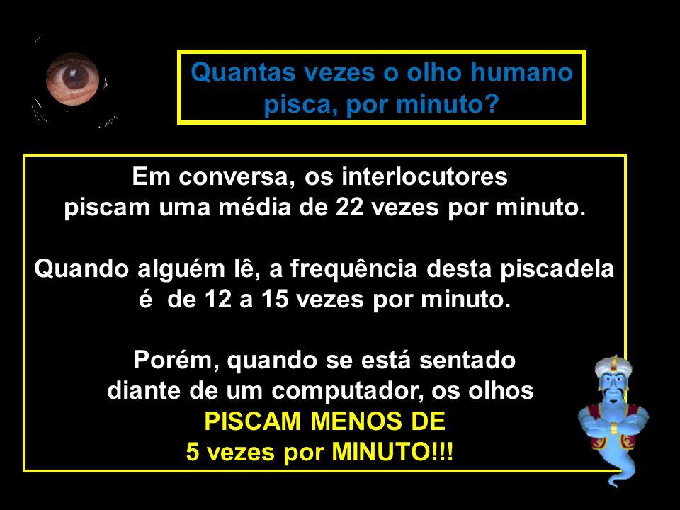 Em conversa, os interlocutores piscam uma média de 22 vezes por minuto.