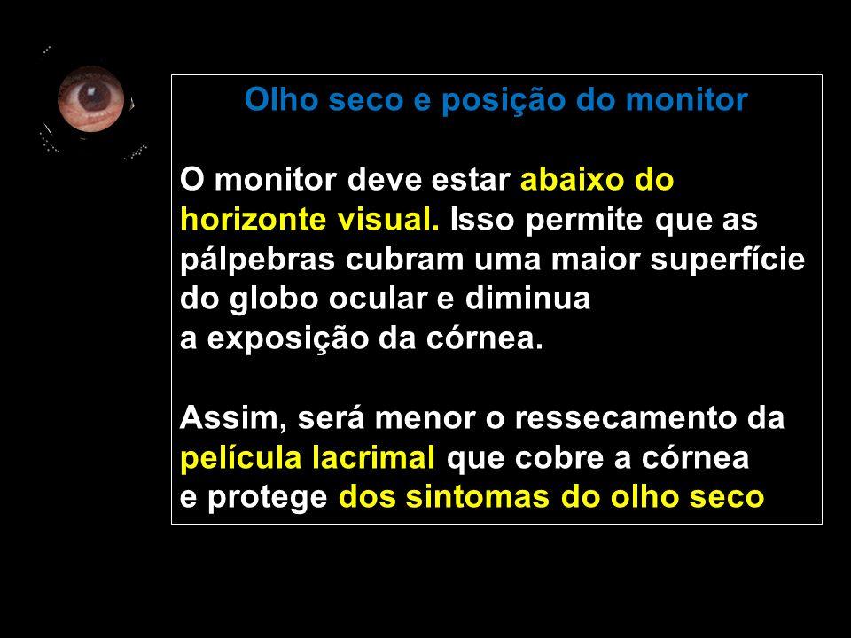 Olho seco e posição do monitor O monitor deve estar abaixo do horizonte visual.