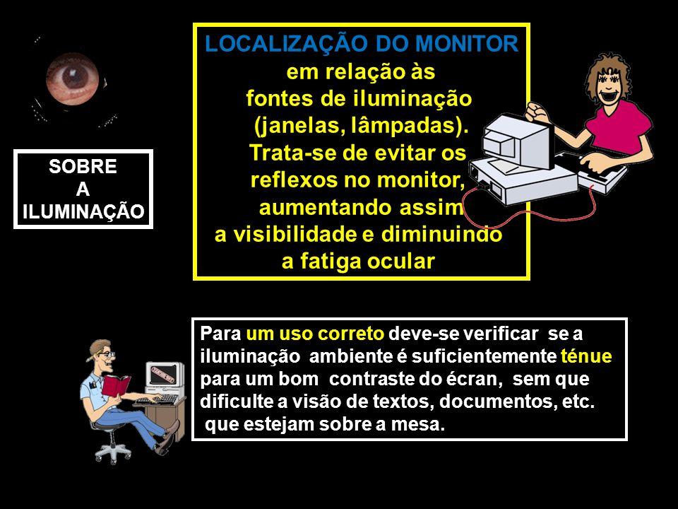 LOCALIZAÇÃO DO MONITOR em relação às fontes de iluminação (janelas, lâmpadas).