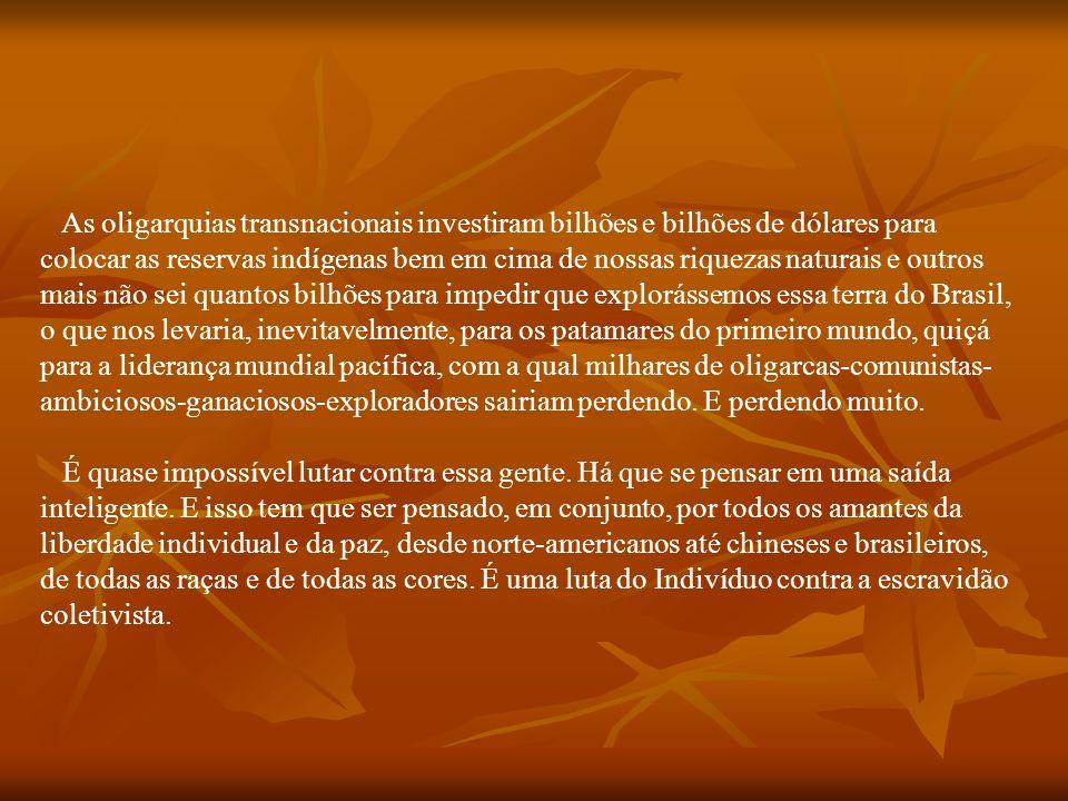 Que direito à reserva indígena para preservação de cultura é esse que obriga um país a ceder terras para índios que vão viver na mais descarada