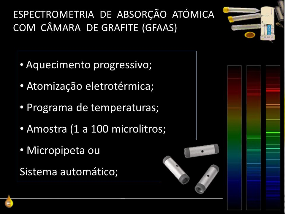 ESPECTROMETRIA DE ABSORÇÃO ATÓMICA COM CÂMARA DE GRAFITE (GFAAS) Aquecimento progressivo; Atomização eletrotérmica; Programa de temperaturas; Amostra (1 a 100 microlitros; Micropipeta ou Sistema automático;