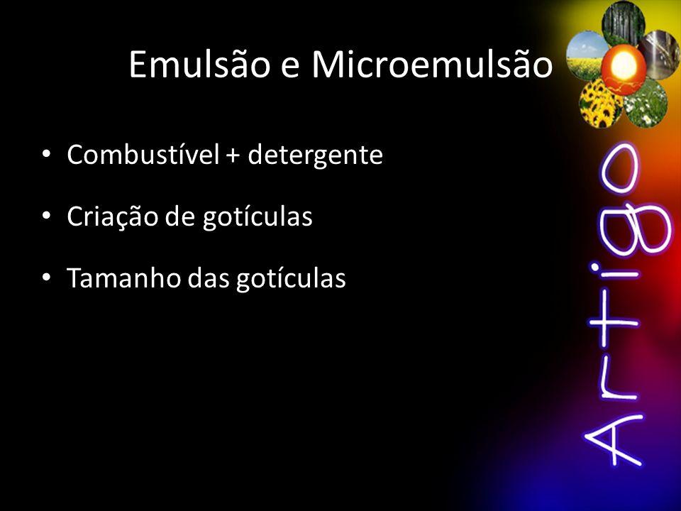 Emulsão e Microemulsão Combustível + detergente Criação de gotículas Tamanho das gotículas