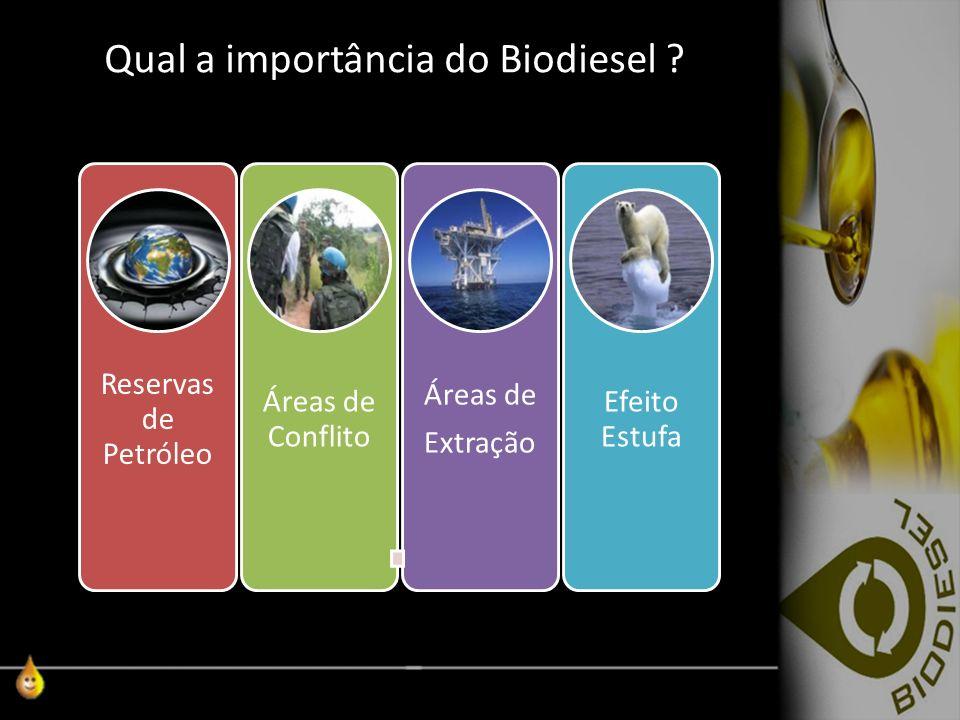 Qual a importância do Biodiesel ? Reservas de Petróleo Áreas de Conflito Áreas de Extração Efeito Estufa