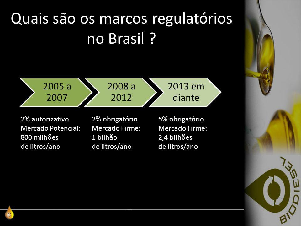 Quais são os marcos regulatórios no Brasil ? 2005 a 2007 2008 a 2012 2013 em diante 2% autorizativo Mercado Potencial: 800 milhões de litros/ano 2% ob