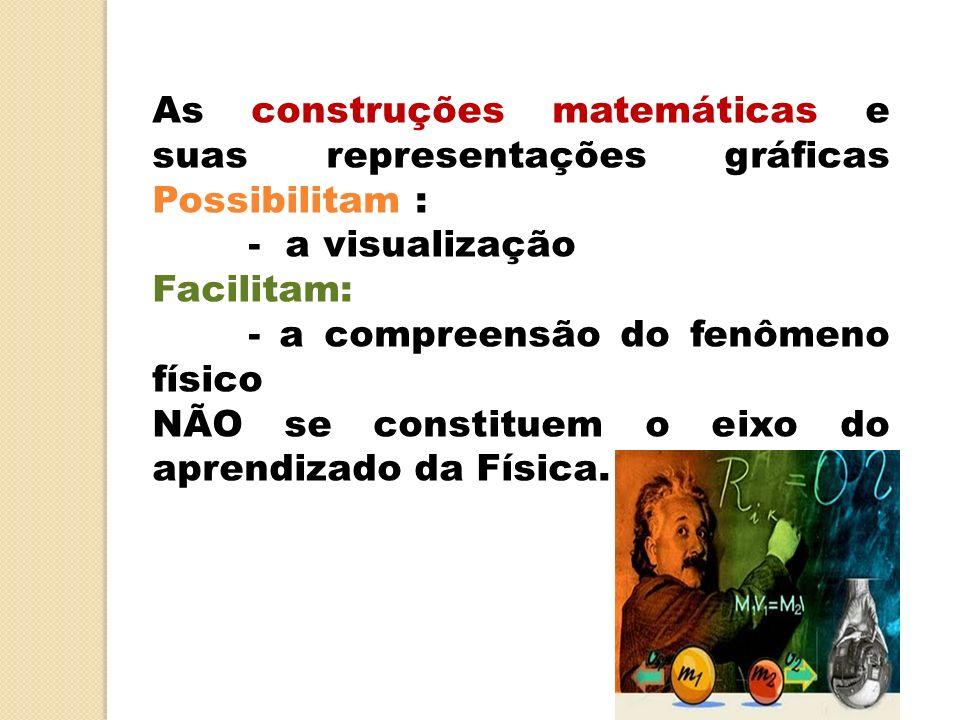 As construções matemáticas e suas representações gráficas Possibilitam : - a visualização Facilitam: - a compreensão do fenômeno físico NÃO se constit