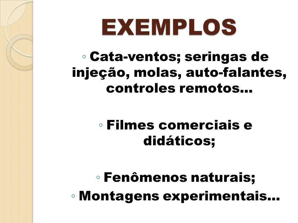 EXEMPLOS Cata-ventos; seringas de injeção, molas, auto-falantes, controles remotos... Filmes comerciais e didáticos; Fenômenos naturais; Montagens exp