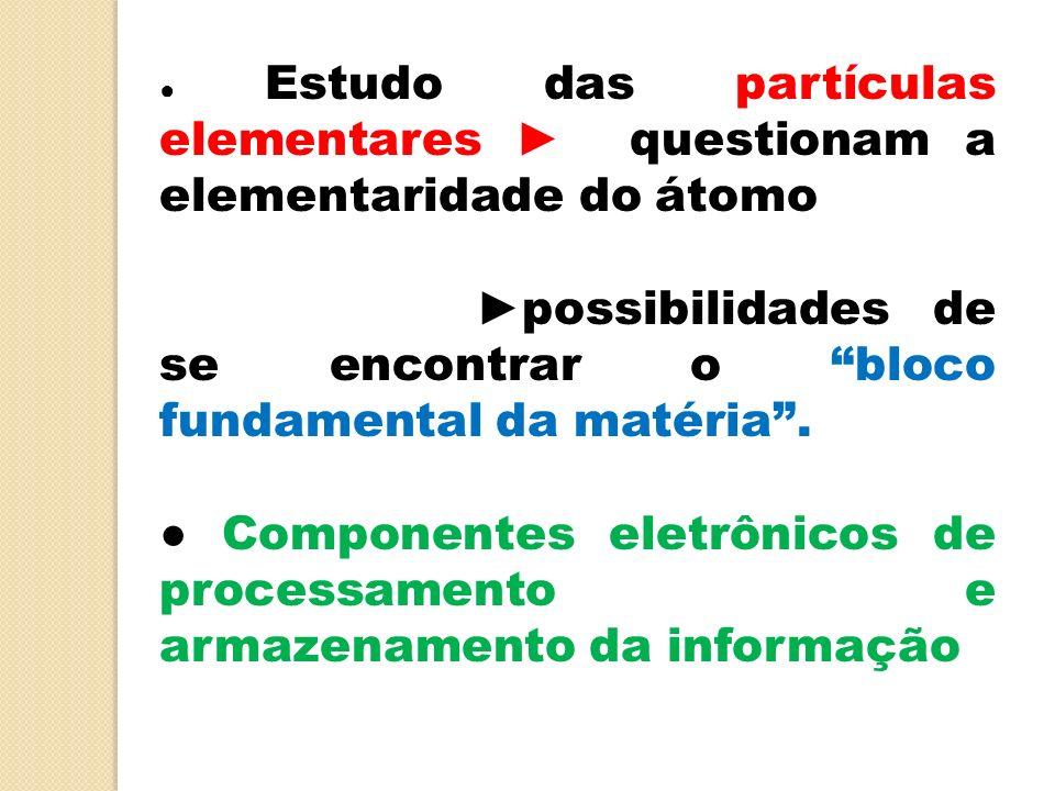 Estudo das partículas elementares questionam a elementaridade do átomo possibilidades de se encontrar o bloco fundamental da matéria. Componentes elet