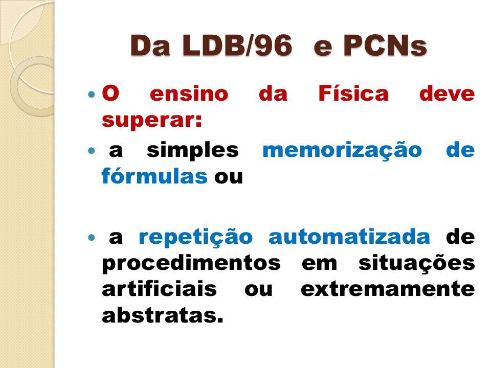 Da LDB/96 e PCNs O ensino da Física deve superar: a simples memorização de fórmulas ou a repetição automatizada de procedimentos em situações artifici