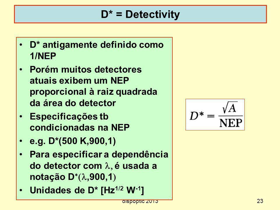 23 D* = Detectivity dispoptic 2013 D* antigamente definido como 1/NEP Porém muitos detectores atuais exibem um NEP proporcional à raiz quadrada da áre