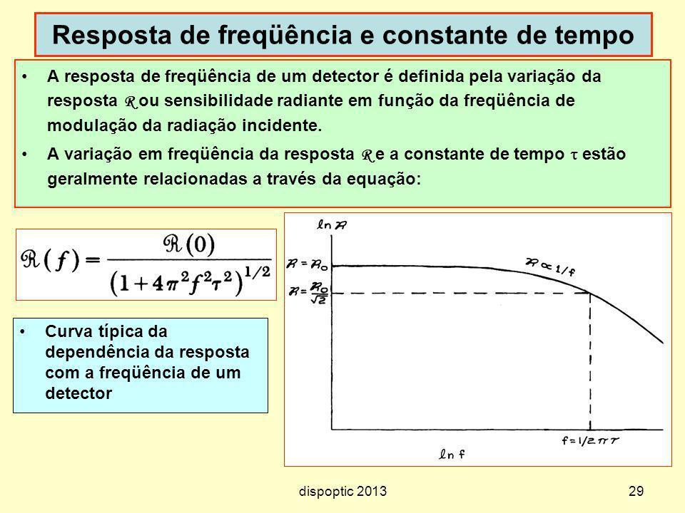 29 Resposta de freqüência e constante de tempo A resposta de freqüência de um detector é definida pela variação da resposta R ou sensibilidade radiant
