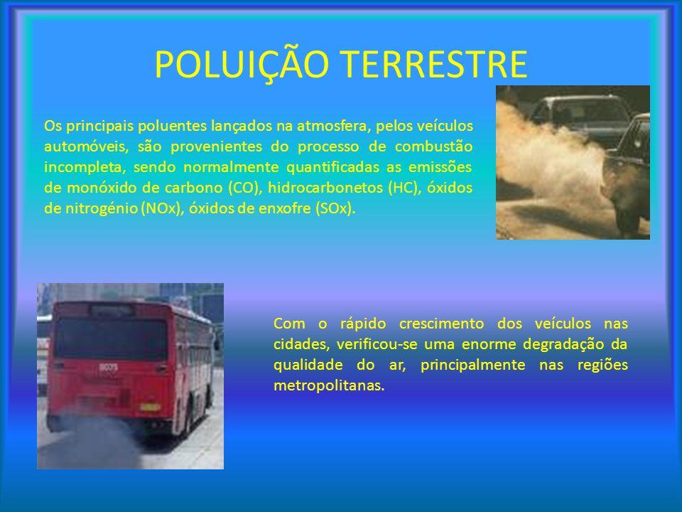 Os principais poluentes lançados na atmosfera, pelos veículos automóveis, são provenientes do processo de combustão incompleta, sendo normalmente quan