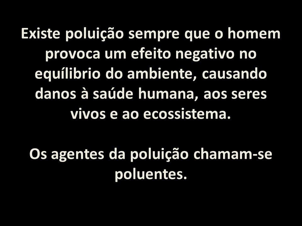Existe poluição sempre que o homem provoca um efeito negativo no equílibrio do ambiente, causando danos à saúde humana, aos seres vivos e ao ecossiste