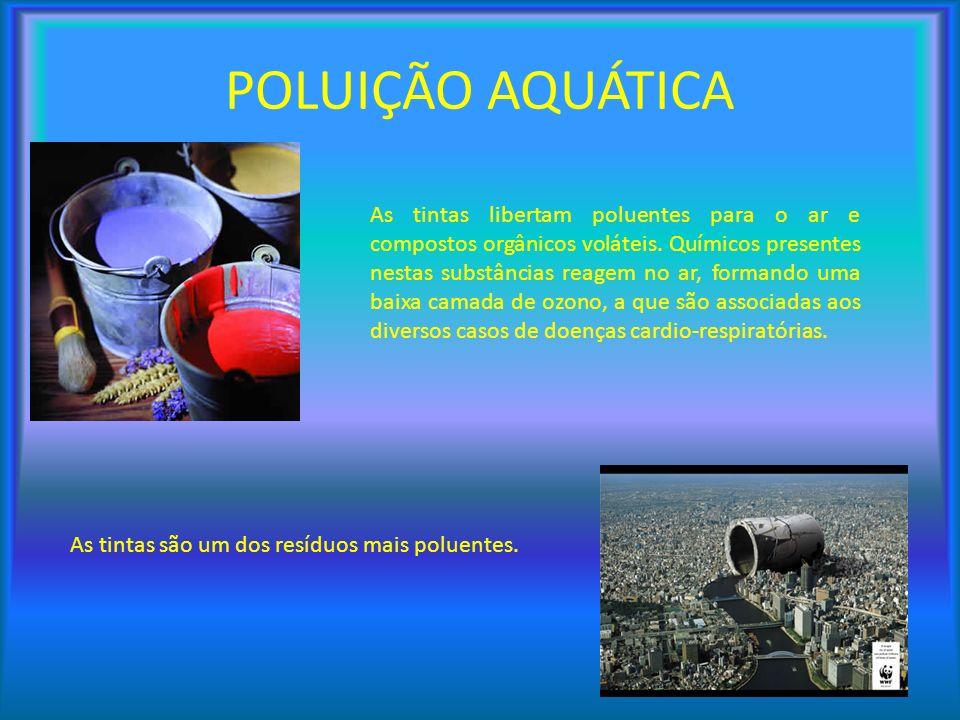 As tintas são um dos resíduos mais poluentes. As tintas libertam poluentes para o ar e compostos orgânicos voláteis. Químicos presentes nestas substân