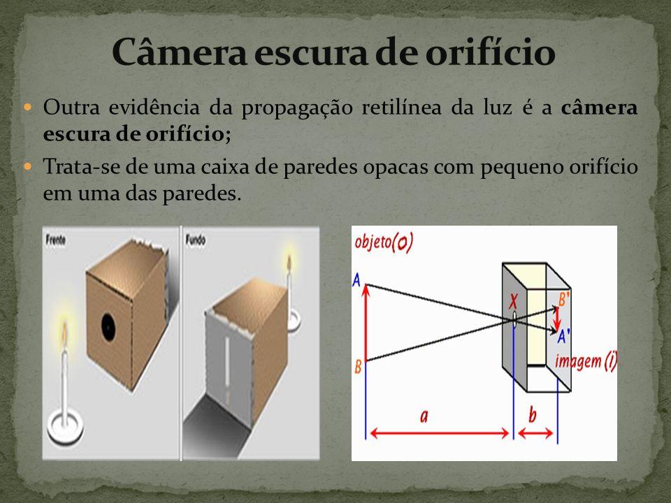 Outra evidência da propagação retilínea da luz é a câmera escura de orifício; Trata-se de uma caixa de paredes opacas com pequeno orifício em uma das paredes.