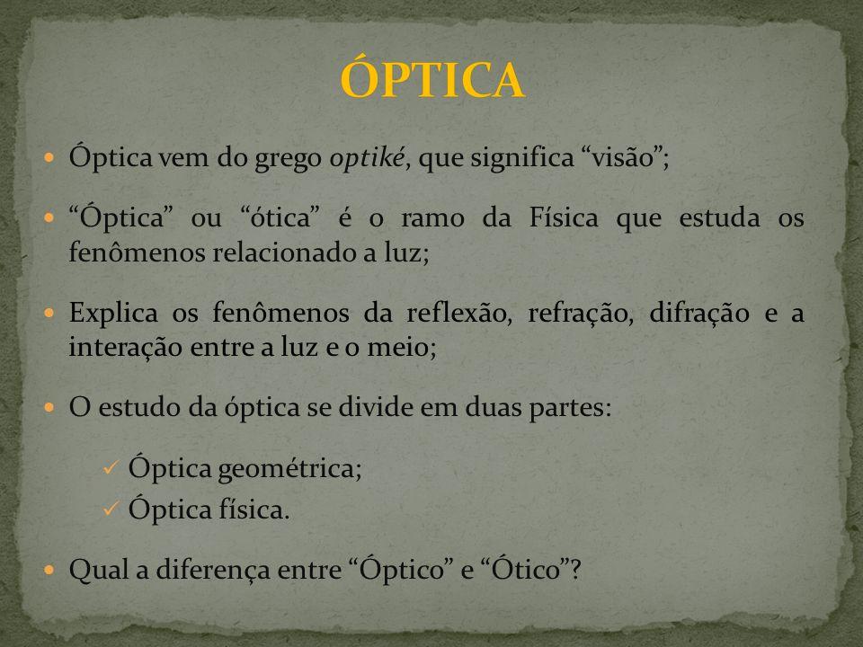 Óptica vem do grego optiké, que significa visão; Óptica ou ótica é o ramo da Física que estuda os fenômenos relacionado a luz; Explica os fenômenos da reflexão, refração, difração e a interação entre a luz e o meio; O estudo da óptica se divide em duas partes: Óptica geométrica; Óptica física.
