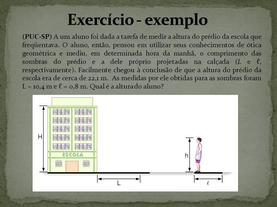 (PUC-SP) A um aluno foi dada a tarefa de medir a altura do prédio da escola que freqüentava. O aluno, então, pensou em utilizar seus conhecimentos de