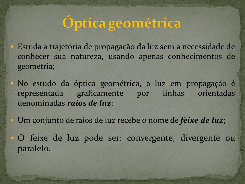 Estuda a trajetória de propagação da luz sem a necessidade de conhecer sua natureza, usando apenas conhecimentos de geometria; No estudo da óptica geo