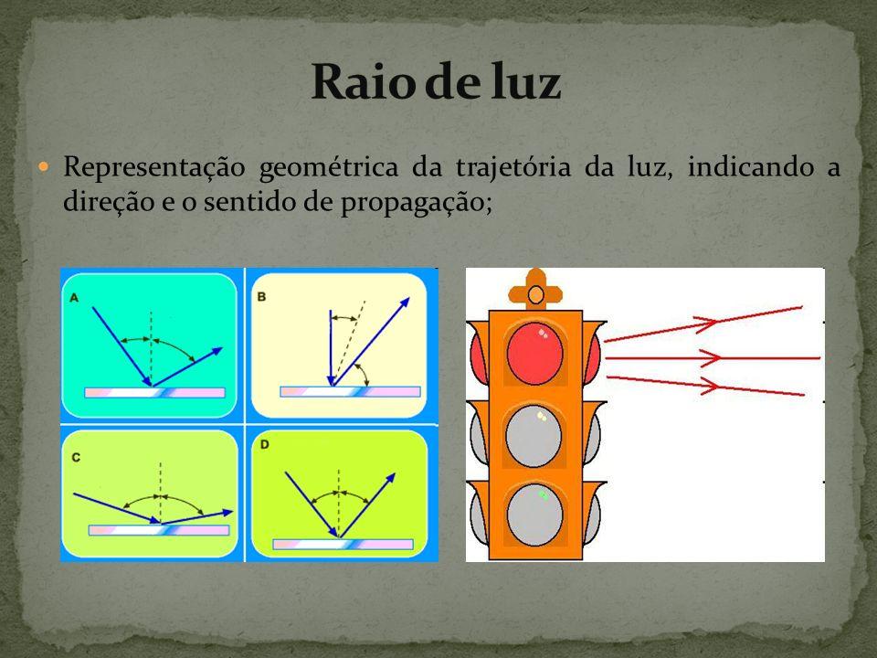 Representação geométrica da trajetória da luz, indicando a direção e o sentido de propagação;