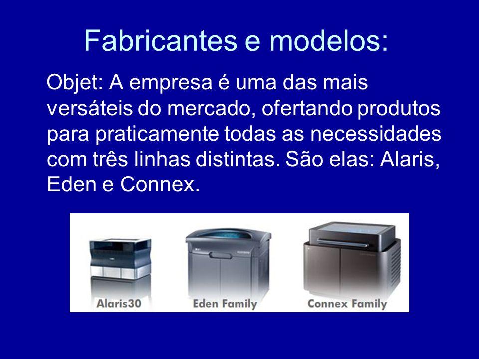 Fabricantes e modelos: Objet: A empresa é uma das mais versáteis do mercado, ofertando produtos para praticamente todas as necessidades com três linha