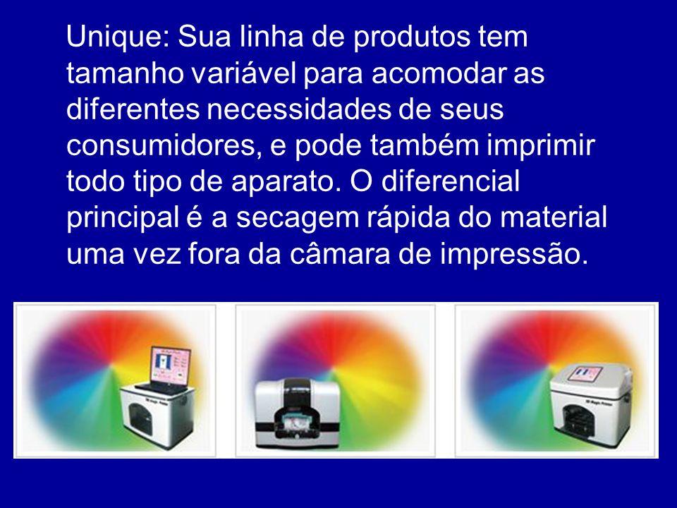 Unique: Sua linha de produtos tem tamanho variável para acomodar as diferentes necessidades de seus consumidores, e pode também imprimir todo tipo de