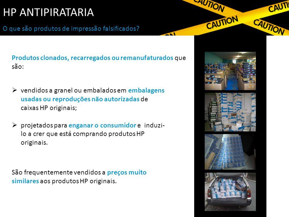 HP ANTIPIRATARIA Produtos clonados, recarregados ou remanufaturados que são: vendidos a granel ou embalados em embalagens usadas ou reproduções não autorizadas de caixas HP originais; projetados para enganar o consumidor e induzi- lo a crer que está comprando produtos HP originais.
