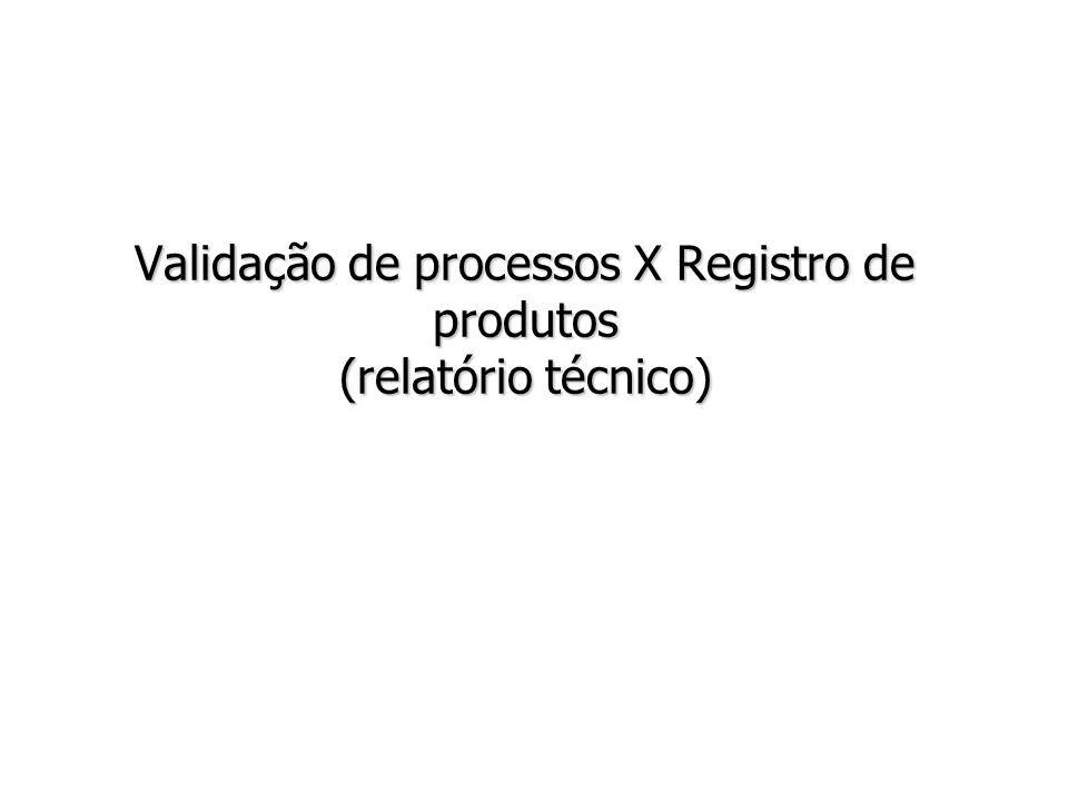 Validação de processos X Registro de produtos (relatório técnico)