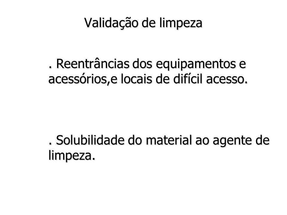 Validação de limpeza.Reentrâncias dos equipamentos e acessórios,e locais de difícil acesso..