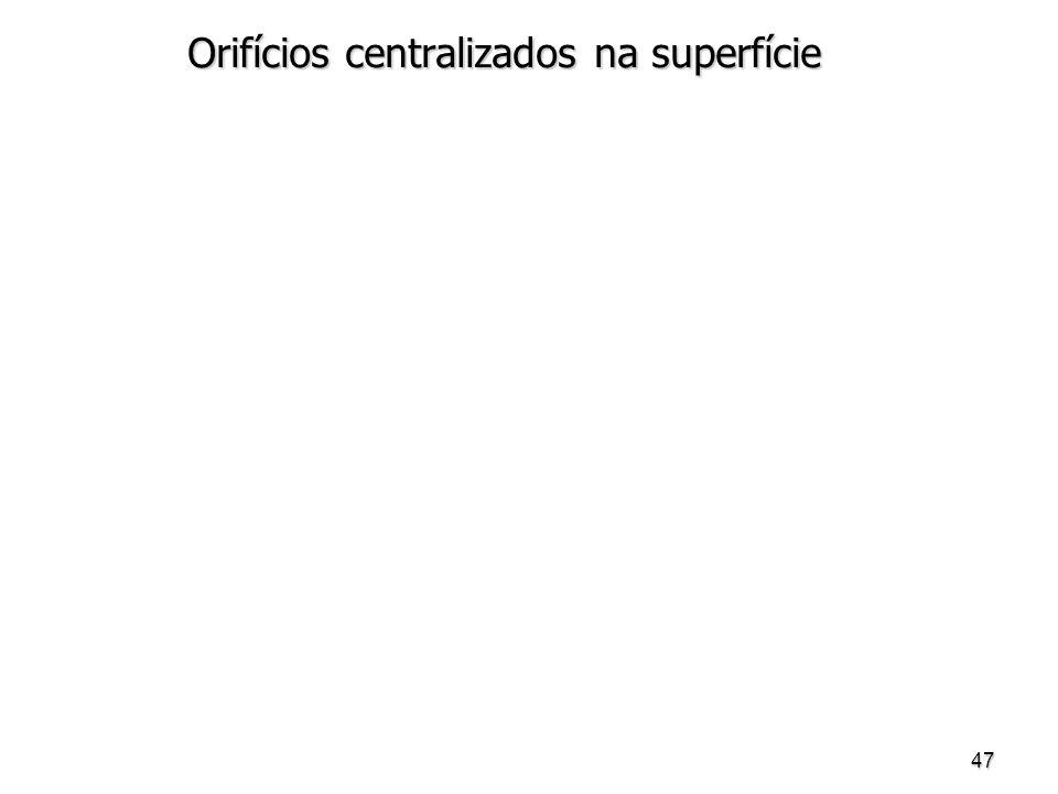 47 Orifícios centralizados na superfície