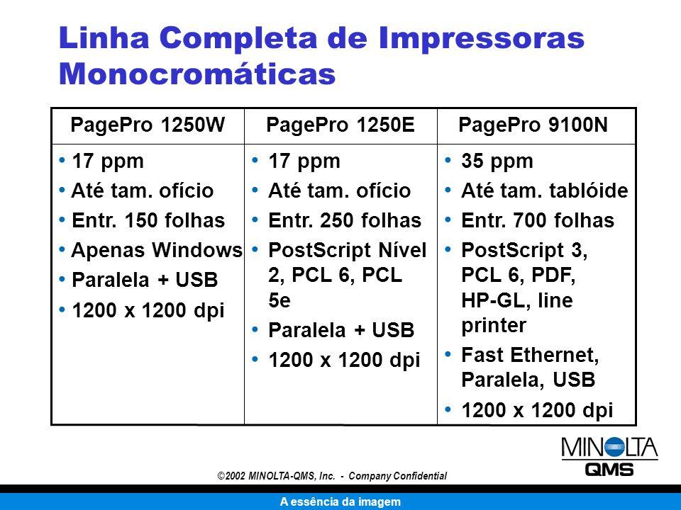 A essência da imagem ©2002 MINOLTA-QMS, Inc. - Company Confidential Linha Completa de Impressoras Monocromáticas 35 ppm Até tam. tablóide Entr. 700 fo
