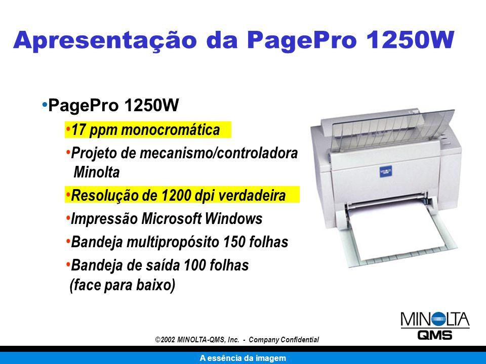 A essência da imagem ©2002 MINOLTA-QMS, Inc. - Company Confidential Apresentação da PagePro 1250W PagePro 1250W 17 ppm monocromática Projeto de mecani