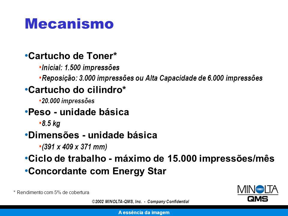 A essência da imagem ©2002 MINOLTA-QMS, Inc. - Company Confidential Mecanismo Cartucho de Toner* Inicial: 1.500 impressões Reposição: 3.000 impressões