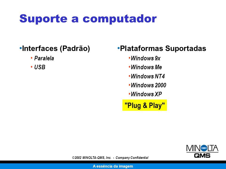 A essência da imagem ©2002 MINOLTA-QMS, Inc. - Company Confidential Suporte a computador Interfaces (Padrão) Paralela USB Plataformas Suportadas Windo