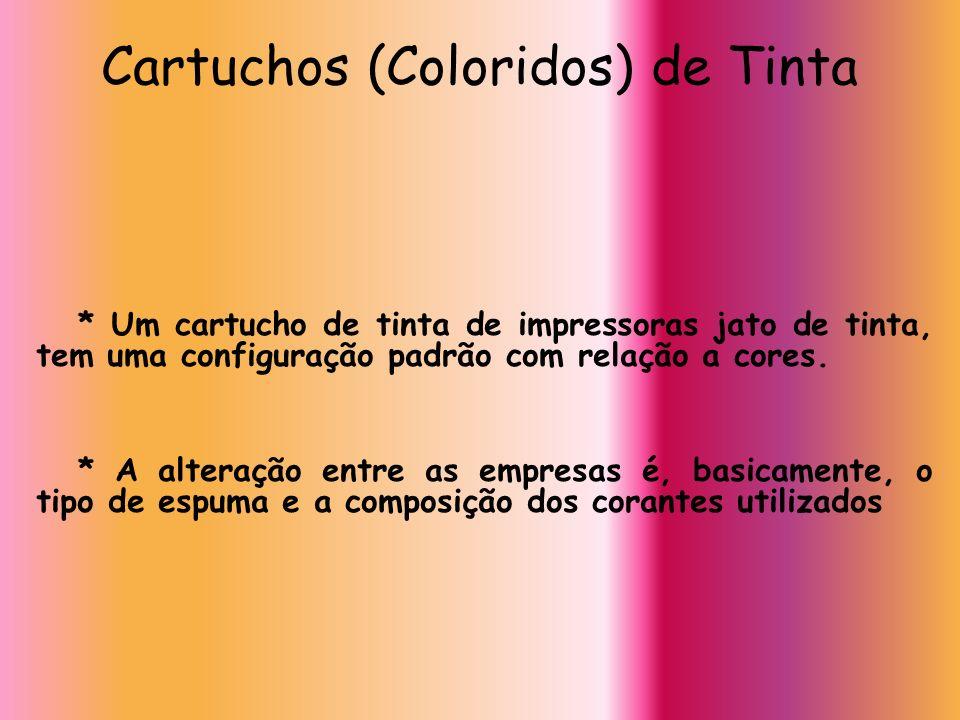 Cartuchos (Coloridos) de Tinta * Um cartucho de tinta de impressoras jato de tinta, tem uma configuração padrão com relação a cores. * A alteração ent