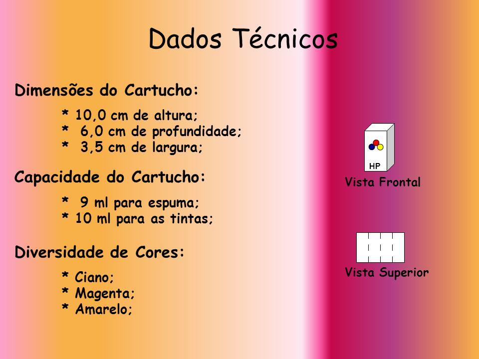 Dados Técnicos Dimensões do Cartucho: * 10,0 cm de altura; * 6,0 cm de profundidade; * 3,5 cm de largura; Capacidade do Cartucho: * 9 ml para espuma;