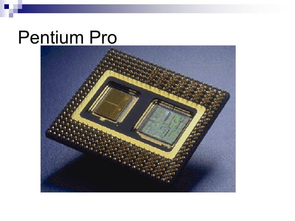 Pentium II Encapsulamento: SEC; L2 no cartucho (mas fora do chip do microprocessador); L1-32kB; Multiprocessamento com até 2 processadores; Barramento: 66MHz; Freqüência: 233~333MHz.