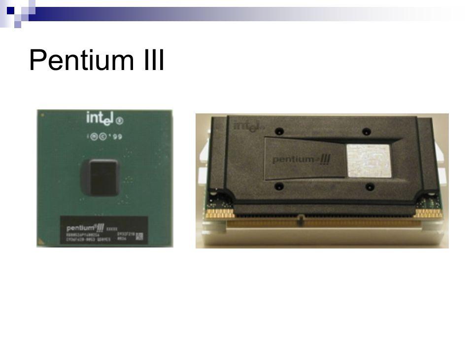 Pentium IV Freqüências: 2.4~3.4GHz; Microarquitetura NetBurst: L3 com até 2MB; L2 com até 1MB; FSB: 800MHz (200MHz com tecnologia Quadpump); Hyper Threading (HT): permite executar dois processos ao mesmo tempo com um processador (equivale a um dual); Hyper Pypelined: prevê desvios condicionais de até 20 instruções à frente.