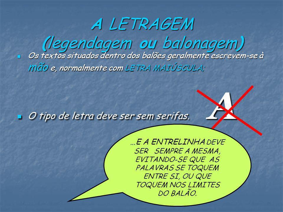 A LETRAGEM (legendagem ou balonagem) Os textos situados dentro dos balões geralmente escrevem-se à mão e, normalmente com LETRA MAIÚSCULA; Os textos situados dentro dos balões geralmente escrevem-se à mão e, normalmente com LETRA MAIÚSCULA; O tipo de letra deve ser sem serifas.