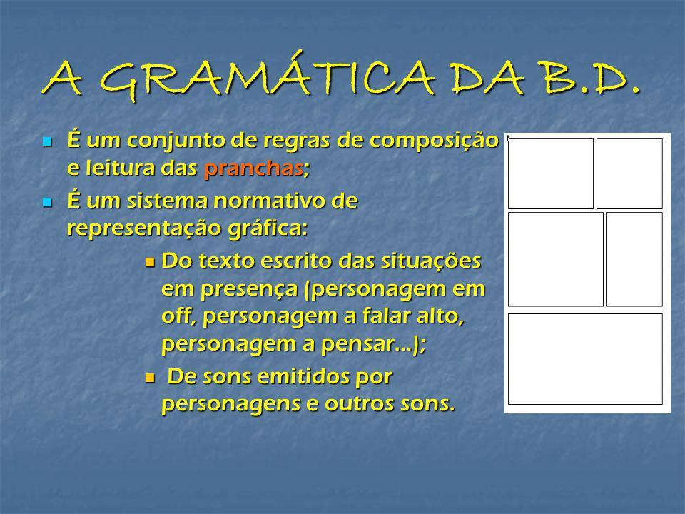 A GRAMÁTICA DA B.D. É um conjunto de regras de composição e leitura das pranchas; É um conjunto de regras de composição e leitura das pranchas; É um s