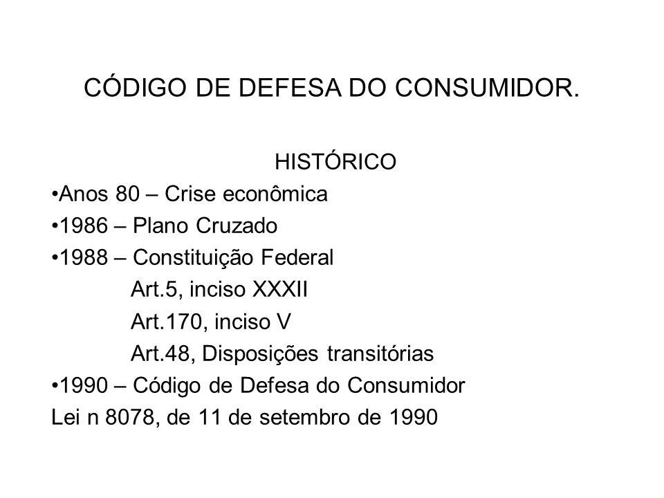 CÓDIGO DE DEFESA DO CONSUMIDOR. HISTÓRICO Anos 80 – Crise econômica 1986 – Plano Cruzado 1988 – Constituição Federal Art.5, inciso XXXII Art.170, inci