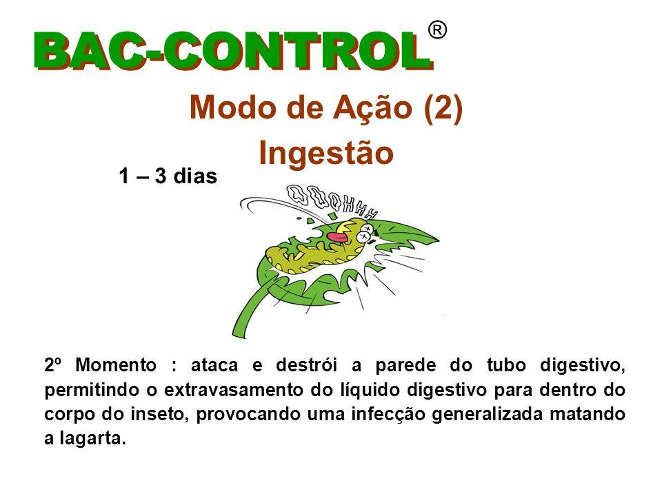 Efeito Residual BAC-CONTROL ® De 5 dias a 45 dias Fatores que influenciam: crecimento da planta (folhas novas) ocorrência de chuvas (acima de 30 mm em 24 hs)