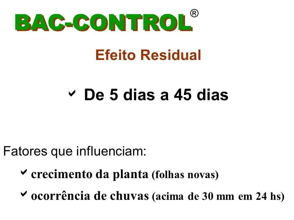 BAC-CONTROL ® * Carência: não tem * Classe toxicológica IV - faixa verde * Incompatibilidade: não tem (aceita todo tipo de tanque mix) * PH ideal: 5 a 6 * Insolúvel ( boa dispersão)