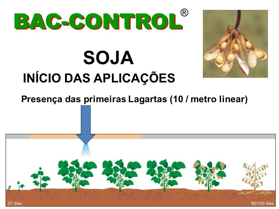 BAC-CONTROL ® Intervalo entre aplicações em função da reinfestação Fator que pode interferir: chuva acima de 30 mm/24hs SOJA