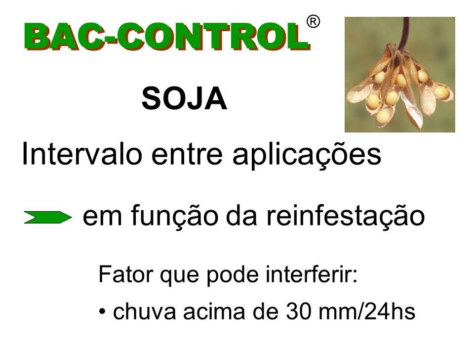 BAC-CONTROL ® Aplicações : 1 a 2 PARA LAGARTAS DA SOJA