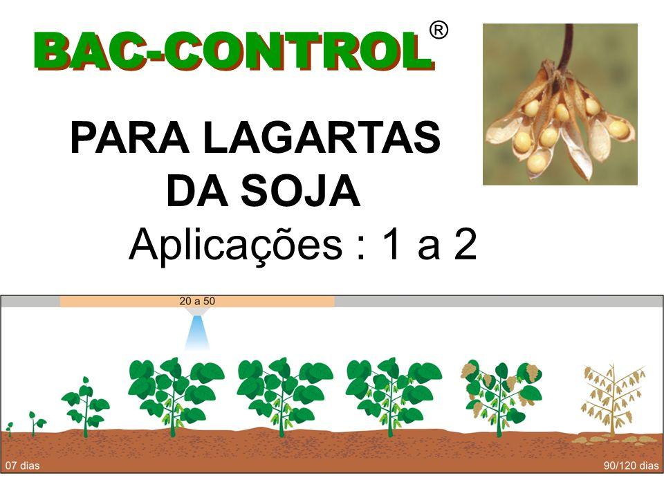 BAC-CONTROL ® PARA LAGARTAS DA SOJA EM GERAL Dose 0,25 kg / ha